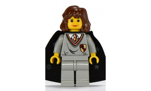 Hermione, Gryffindor Shield Torso, Light Gray Legs, Black Cape with Stars hp002