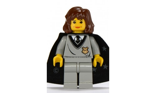 Hermione, Hogwarts Torso, Light Gray Legs, Black Cape with Stars hp003