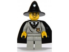 Harry Potter, Hogwarts Torso, Light Gray Legs, Black Wizard Hat, Black Cape with Stars - hp035