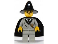 Harry Potter, Hogwarts Torso, Light Gray Legs, Black Wizard Hat, Black Cape with Stars - hp035