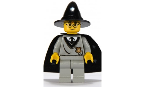 Harry Potter, Hogwarts Torso, Light Gray Legs, Black Wizard Hat, Black Cape with Stars hp035