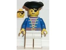 Pirate Blue Shirt, White Legs, Black Pirate Triangle Hat - pi006
