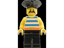Pirate Blue / White Stripes Shirt, Black Legs, Black Pirate Triangle Hat - pi017