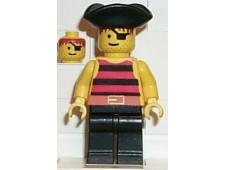 Pirate Red / Black Stripes Shirt, Black Legs, Black Pirate Triangle Hat - pi025