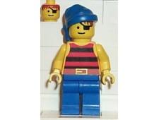 Pirate Red / Black Stripes Shirt, Blue Legs, Blue Bandana - pi028