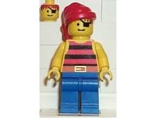 Pirate Red / Black Stripes Shirt, Blue Legs, Red Bandana - pi032