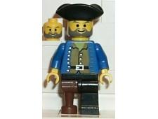 Pirate Brown Shirt, Black Leg with Peg Leg, Black Pirate Triangle Hat - pi036