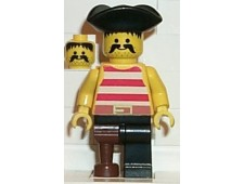 Pirate Red / White Stripes Shirt, Black Leg with Peg Leg, Black Pirate Triangle Hat - pi038