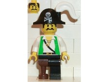 Pirate Green Shirt, Black Leg with Pegleg, Black Pirate Hat with Skull - pi050
