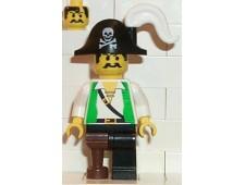 Pirate Green Shirt, Black Leg with Pegleg, Black Pirate Hat with Skull - pi050