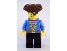 Pirate Blue Shirt, Black Legs, Brown Pirate Triangle Hat, Black Hair - pi080