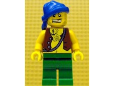 Pirate Vest and Anchor Tattoo, Green Legs, Blue Bandana, Gold Tooth - pi107