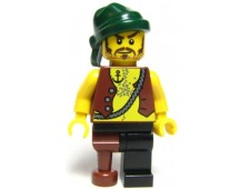 Pirate Vest and Anchor Tattoo, Black Leg and Peg Leg, Dark Green Bandana, Brown Moustache - pi110